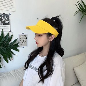 INS Hat Female Summer Empty Top Sun Hat Student All-match Sunscreen Baseball Cap Solid Color No Top Travel Cap Male