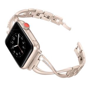 여성 시계 밴드에 대 한 시계 밴드 38 mm / 42 mm / 40 mm 44 mm 다이아몬드 스테인레스 스틸 스트랩 iwatch 시리즈 4 3 2 2 팔찌