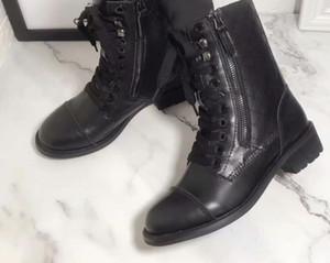 Sıcak Satış-2019 SS19 ilkbahar sonbahar siyah gerçek deri lüks muharebe ayak bileği patik Yan fermuar bisikletçinin Askeri Boots ile dantel Womens