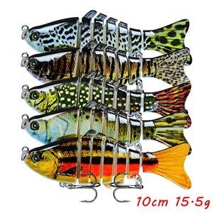5pcs lot Multi-section Fish Hard Baits & Lures 15 Color Mixed 10CM 15.5G 6# Hook Fishing Hooks F37_44