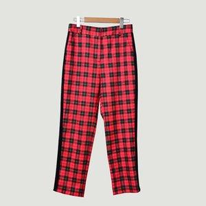 Herbst und Winter New British Style Retro Stitching Plaid Stattliche wilde beiläufige Hosen-Hose