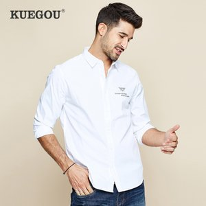 KUEGOU 2019 Autumn 100% algodão bordado branco shirt Homens Dress Casual Slim Fit manga comprida por Homem Moda Blusa 6501