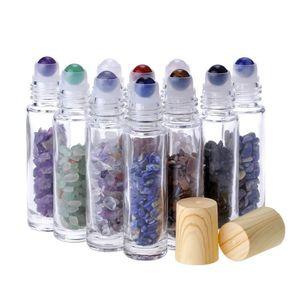Ezilmiş Doğal Kristal Kuvars Stone ile Parfüm Şişeleri üzerinde Esansiyel Yağı difüzör 10ml Temizle Cam Rulo, Kristal Silindir Topu Ağaç Damarı Cap