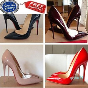 Hot Sale- Free Shipping So Kate Styles 8cm 10cm 12cm High Heels Shoes Red Bottom Nude Color Genuine Leather Point Toe Pumps Rubber
