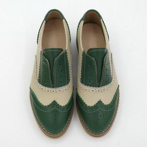 La moda con cordones de los zapatos de tacón Oxford-baja para el dedo Mujeres Ronda de colores mezclados Brogues causales Oxford Individual zapatos femeninos