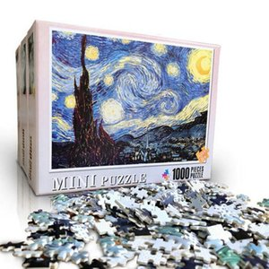 1000 Pieces Jigsaw Puzzles Adults The Smallest Size Starry Night Puzzles Difficult Famous Painting Thicker Paper Puzzle for AdultSize QPTth