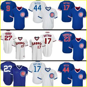 44 Anthony Rizzo 17 Kris Jersey 12 Kyle Schwarber 23 Ryne Sandberg basebol camisola 27 da truta 17 Shohei Ohtani basebol Equipamentos