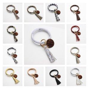 Кожаный браслет брелок кисточкой персонализированные деревянные диск кулон браслет брелок девушки запястье кулон 13 цветов BBA17