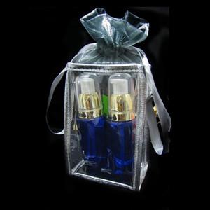 الجملة 8 * 12 * 5 سم واضحة حقيبة مستحضرات التجميل البلاستيكية ، ذهبية و سيلفي ، والتعبئة والتغليف كيس كيس هدية. 200piece \ الكثير