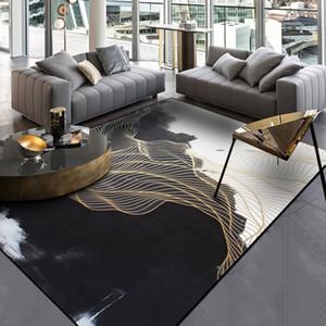 Negro Blanco Salón Área Alfombras Pintura de paisaje de la alfombra de oro de lino Pasillo Tapete dormitorio de noche antideslizante de cocina Alfombras