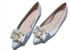 2019 kadın ayakkabı ile İlkbahar ve Sonbaharda Yeni stil düz dipli sivri uç Ipek ve saten su matkap ilmek @ 224