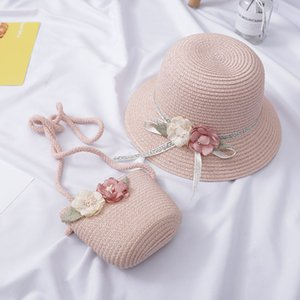 Fashion Flower Children Sun Hats cute girl Bags Suit Summer Beach Straw Hats For Girl UV Protection Sun Hat For 2-6 Years Old