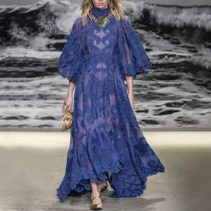 2020 famoso designer progetta palazzo in stile ricamo colletto alla coreana cava fiore gonna lunga Lantern Sleeve Dress