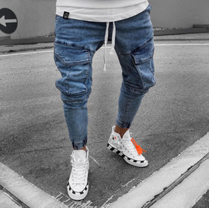 2020 hommes Casual Distressed Jeans Pantalons Skinny Tactical Cargo Denim 3XL Couleur Bleu Fashion Style Casual