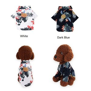 Dog Cat Shirts Cotton Summer Beach Clothes Vest Pet Clothing Floral T Shirt Hawaiian For Small Large Dog Chihuahua Frech Fulldog