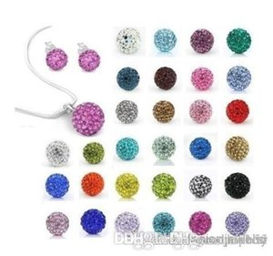 10Pcs lot 10mm crystal clay hotsale disco bead Rhinestone crystal Set necklace studs earrings drop jewelry set g421 w62 e23