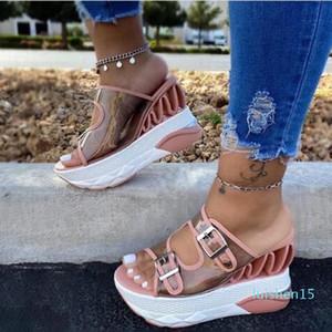 Summer Women Wedge Sandals PVC Transparent Buckle Strap Shoes Woman Casual Super High Platform Ladies Slides Female Sandals l15
