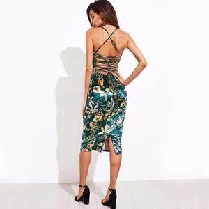 2019 Lace Up Back Floral Velvet Dress Botanique Femmes Sexy Midi D'été Robes Vert Élégant Robe Moulante