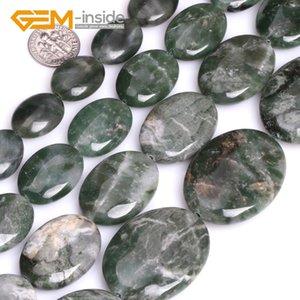 """Rectángulo / Óvalo / Plano Gota / Cuadrado / Forma Hexágono Verde Verde Jades Africano Cuentas de Piedra para Hacer Joyería DIY 15 """"GEM-adentro"""