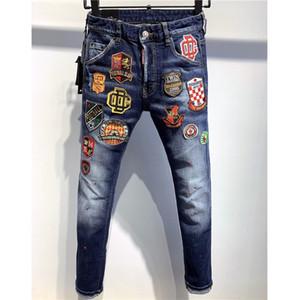 Jeans para hombre del diseñador de moda casual jeans de marca pantalones de tela vaquera envejecida rasgada dril de algodón bordado Jean Pantalones de lujo 9 estilos 2020740K