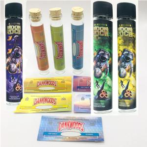 Moonrock Pre Roulée Vide Tube Verre Bouteille Etiquettes personnalisées Dankwoods Blunt Cork Tip Stickers holographiques Tubes de prélèvement