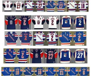 Vintage New York Rangers maglie 2 Brian Leetch 27 ALEX KOVALEV 18 Walt Tkaczuk 21 Pete Stemkowski 6 Glen Sather Blu Bianco CCM Hockey Retro