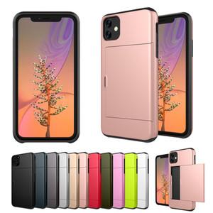 Faites glisser la carte de crédit sous Defender 2 en 1 Hybrid Phone Case pour iPhone 11 Pro Max 11 XR Pro XS MAX 7 8 plus Samsung S10 plus S9 S8, plus Note 10