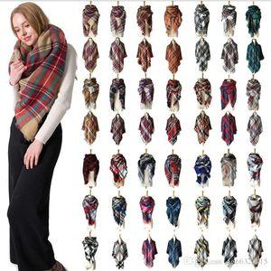 28 Colors Women Plaid Scarves Grid Tassel Wrap Oversized Check Shawl Winter Neckerchief Lattice Triangle Blanket Scarf China wholesale free