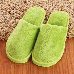Soft Slippers Schuhe Plüsch Baumwollnette rutschhemmender Boden Indoor-Haus-Pelzhausschuhe Damen Herren Schuhe für Schlafzimmer