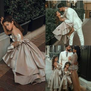 Vintage Sheer Neck Long Sleeve Flower Girls Dresses Hand Made Flowers Kids Formal Wear Hi Lo Satin Girl Dress For Wedding