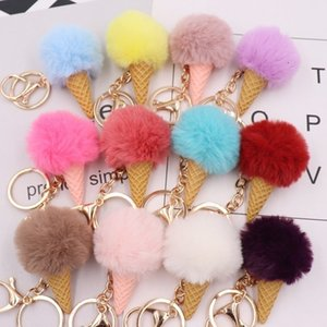 Hot Colorful Ice Cream Keys Holder Plush Key Chain Pendant Keychs Baby Key ring pendant Decoration Party SuppliesT2C5186