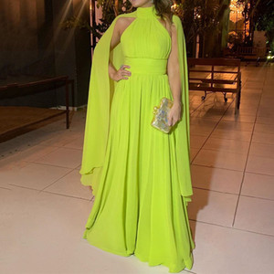 Fashion Yellow A-line Chiffon Formal Evening Dresses With Wrap High Neck Ruched Floor Length Sexy Prom Gown
