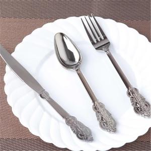 Rétro série épaisse couteau en plastique jetable et une cuillère fourchette bifteck Western parti vaisselle 60 / set