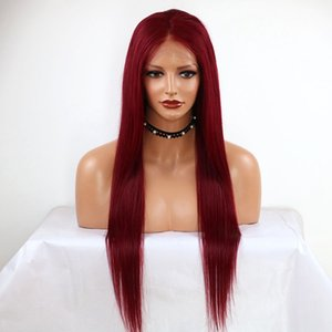 Long Silky Straight Heat Resistant Synthetic Lace Front Wig with Baby Hair 150% Density Wine Red Wig 24Inch Burgundy Wigs For Women