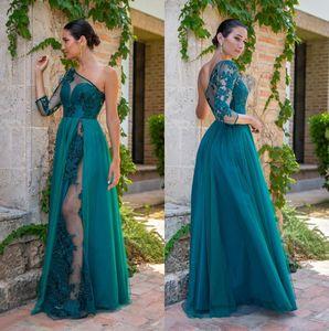 Hunter Une epaule vert Sheer manches longues en dentelle robes de soirée en mousseline de soie 2020 Applique longueur de plancher de bal Robes fête officielle