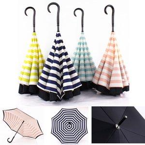 Creative-Double-Layer-Rohseide-Streifen-Reverse-Regenschirm-gerades Stiel Umbrella C-Typ Sonnenschutz Tragbare Regenschirme DHB236