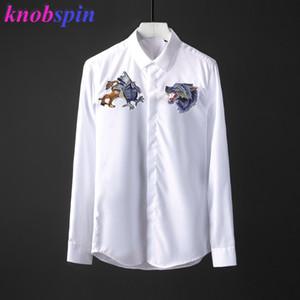 100% reiner Baumwollhemd Männer 2019 Wolf Kopf Stickerei schlank Chemise homme Marke Business männlich Dress Shirts einfarbig Langarm