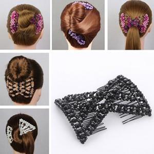 DIY Women Elastic Magic Hair Combs Vintage Hair Clip Claw Bun Maker Tools Hairstyle Fashion Pearl  Hairdo Accessories