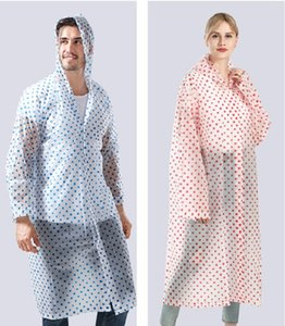 Man Woman Waterproof Raincoat Adult Outdoor Travel Accessories Rain Gear Top Quality Eva Transparent Polka Dot Raincoats