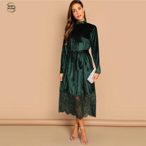 Verde cintura in vita Mock Neck Velvet Dress Long Sleeve Lace Hem vestito solido Casual Elegante autunno delle donne moderne signora Dresses