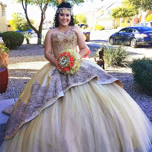 Gold Quinceanera Dresses For Girls Ball Gown Sweetheart Appliques Sweet 16 Prom Dresses Formal Bridal Gowns