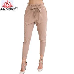 BALIWEISA 2019 de la nueva marca de alta elástico de la cintura de los pantalones de las mujeres de primavera y verano delgado de la manera Oficina Mujer Pantalón Señora Negro Pantalones Cinturón