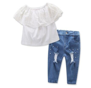 2pcs Baby Girls Outfits Summer Toddler Girl White Sleeveless Tops Denim Pants Jeans Fashion Size 2-7T Kids cowboy Clothes Set