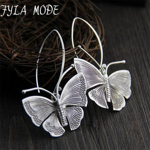 2019 New Hot Fashion Fine Excellent Jewelry Thai Silver Butterfly Old Silver Color Brincos Drop Earrings For Women Ladies Gift CX200608
