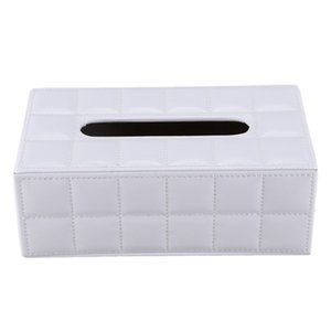 Durable Home Car Rectangle PU Leather Tissue Box Paper Holder Case Cover Napkin white