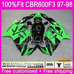حقن لهوندا CBR600 F3 FS CBR600FS CBR 600 F3 97 78HM.39 CBR 600F3 CBR600RR CBR600F3 97 98 1997 1998 100٪ Fit Green Black Fairings