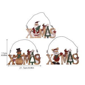 2019 New Year Natural Wood Merry Christmas Tree Decorations for Home Xmas Ornament Wooden Hanging Christmas Pendant Drop Gifts