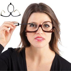 Ampliación de los lectores de maquillaje Make presbicia del ojo de vidrios Hasta Gafas, tapa de lente plegable cosmética mujeres gafas de presbicia