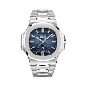 Лучшие моды Мужские часы PP Nautilus серии 40MM Moon Phase 5726 Циферблат Сапфировое стекло Автоматическая Кожаный ремешок Мужчины Top Спорт WristWatch