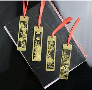 Or Métal Couleur Bookmark - évider Plum Blossom Orchid Bambou Chrysanthème Classique Rétro alliage de style Favoris
